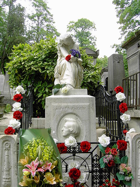 Chopin's tombstone, featuring the muse of music, Euterpe, weeping over a broken lyre, was designed and sculpted by French sculptor/artist Auguste Clésinger.