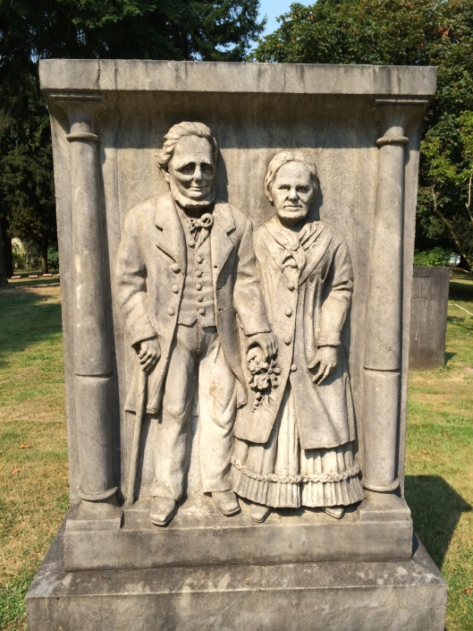 This is the monument for James and Elizabeth Stephens. James was the son of Emmor Simmons, who is noted for being the first person buried in Lone Fir Cemetery when it was known as Mount Crawford Cemetery.