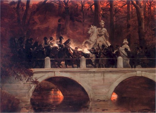 Clash between Polish insurgents and Russian cuirassiers on bridge in Warsaw's Łazienki Park. In the background is an equestrian statue of King John III Sobieski. Painiting by Wojciech Kossak, courtesy of Wikimedia Commons.