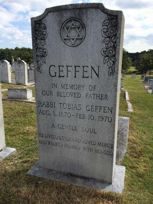 Rabbi Tobias (Tuvia) Geffen is buried in Greenwood Cemetery in Atlanta, Ga. He lived to be a hundred years old.