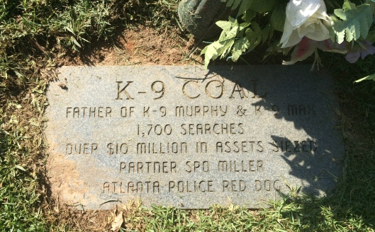 K-9 Coal is just one of several police dogs buried at Oak Rest. Coal was also the son of two very successful K-9s, Max and Murphy, who are buried near him.