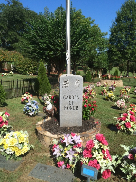 Oak Rest's Garden of Honor is dedicated to the courage and sacrifice of K9 police dogs as well as guide/service dogs.