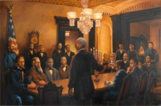 "The ""Forty Acres and a Mule"" painting of the Jan. 12, 1865, meeting was done by Haller Buchanan. It  hangs in the Ralph Mark Gilbert Civil Rights Museum in Savannah."