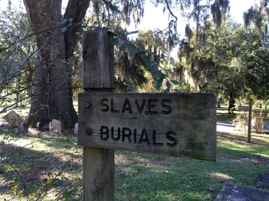 This simple sign marks the place where slaves are buried. Some are marked but most are not.