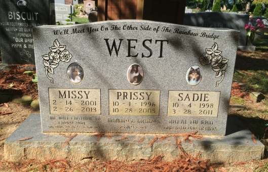 The West family's dogs share a monument at Oak Rest Pet Gardens.
