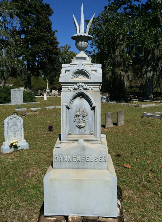 The Dannenfelser family monument is made of white bronze, which is actually zinc. You can see their son William's marker in the background to the left.