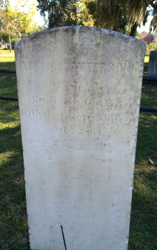 """William Patterson enlisted in May 1861 as a Private, becoming part of """"B"""" Co. Ga 8th Infantry. He was Killed on July 2, 1863 at Gettysburg, Pa."""