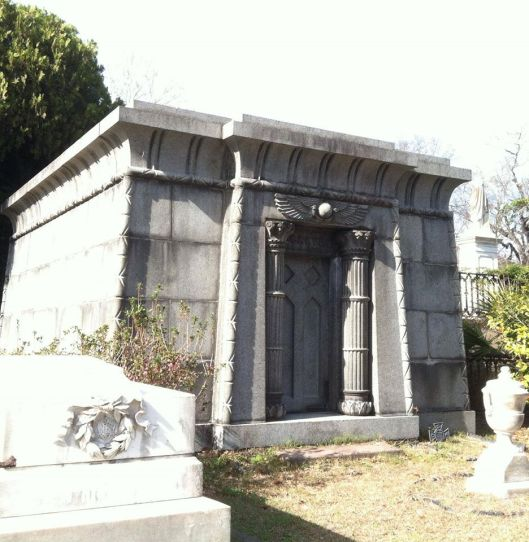 This Egyptian-themed tomb reminds me of the one I saw at Magnolia Cemetery in Charleston, S.C. There's another one at nearby Bonaventure Cemetery, too.