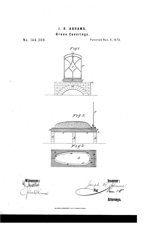 "This is a copy of the drawing that accompanied Joseph R. Abrams' idea for ""improvements in grave-covering."""