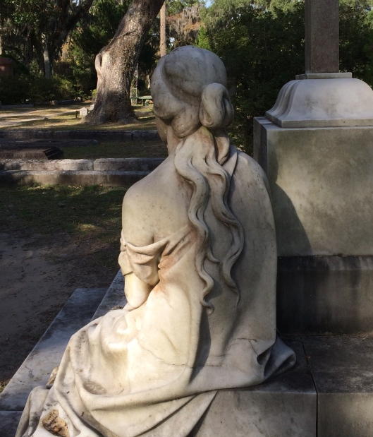 Italian artist Benedetto Civiletti of Palermo created the much-photographed statue of Corrinne Lawton. The detail of her hair down her shoulder is lovely.