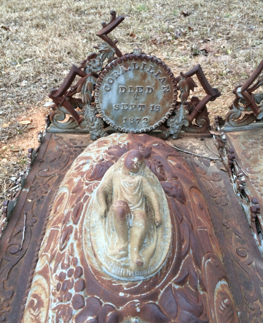 Cora Lillian died on September 18, 1872. That's almost exactly two years before her sister, Phoebe, died. The condition of her name plate is not as good as her sister's.