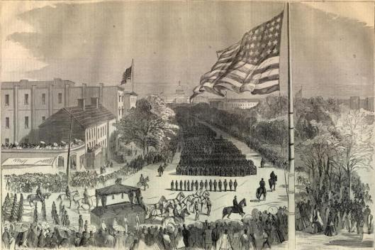"Ben Perley Poore, wrote: ""At 2 p.m., the funeral procession started, all of the bells in the city tolling, and minute guns firing from all the forts. Pennsylvania Avenue, from the Treasury to the Capitol, was entirely clear from curb to curb. Preceding the hearse was the military escort, over one mile long, the arms of each officer and man being draped with black. Illustration from Harper's Weekly."