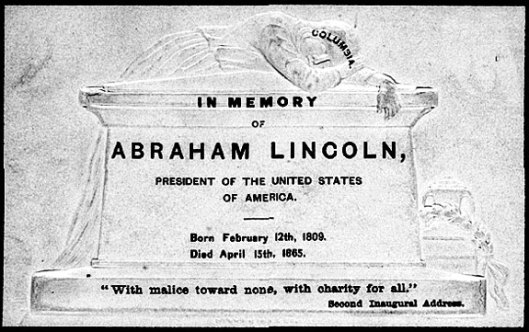 This is a mourning card printed soon after Lincoln's death. Photo courtesy of the Library of Congress, Rare Books and Special Collections Division
