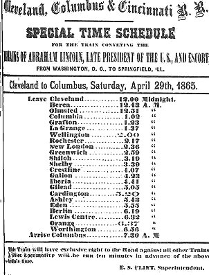 This train schedule lists the many towns the Lincoln funeral procession passed through between Cleveland and Columbus. Residents would line the tracks to get a glimpse of the train as it passed.