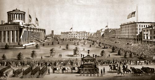A lithograph of the Lincoln funeral procession heading east on Broad Street. This view is looking south, with High Street shown on the right.