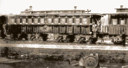 Lincoln's funeral train Car at Cleveland's Union Station had guards on board after Lincoln's body had been taken to the Ohio Statehouse because his son, Willie who had died several years before, was still on board. The ditch along the track is filled with water from the heavy rain storms that fell during the night. The sun came out just before Lincoln's body arrived at the Statehouse.