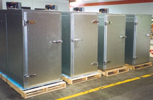 These coolers sold by U.S. Cooler Co. in Quincy, Ill. are typical of the kind used by mortuaries and funeral homes to store bodies. Photo courtesy of U.S. Cooler Co.