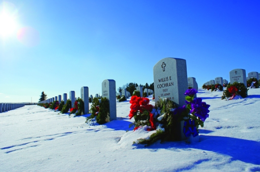 This photo of snow-covered North Dakota Veterans Cemetery in Mandan shows how difficult conditions can be for digging graves in the winter. Photo by Dustin White.