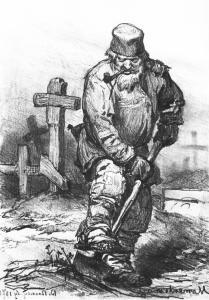 Grave-digger, painted by Russian artist Viktor Vasnetsov in 1871, shows the typical illustration of a 19th-century grave digger might look like.