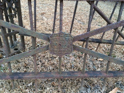 The Stewart Iron Works Company was established about 150 years ago and supplied iron fencing for decades thereafter. You can find their handiwork in cemeteries across the country.