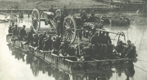Pontoon boats like this one ferried Union soldiers across Sope Creek so they could advance south to Atlanta. Photo courtesy of Newspapers.