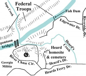 This map shows the location of the Heard Family Cemetery and where Union Troops crossed the nearby Chattahoochee River on their way south through Georgia. Map courtesy of Reporter Newspapers.