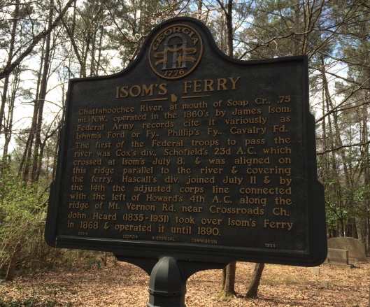 This historical marker at the Heard Family Cemetery explains the vital role of Isom's Ferry (now known as Heard's Ferry) during the Civil War.