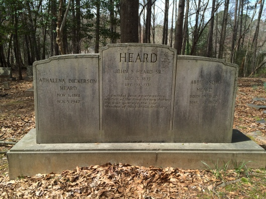 Judge John S. Heard is buried with his first wife, Abie Isom Heard, and his second wife, Athalena Dickerson Heard.