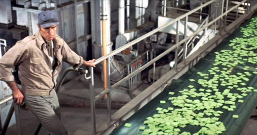 "Richard Fliescher's 1973 film immortalized the words ""Soylent Green is people!"" Set in 2022, Charleton Heston plays Detective Thorn, a cop who discovers that the food chips called Soylent Green are not made of plankton but actual human beings."