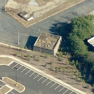 This is an aerial view of the Crowley Mausoleum, courtesy of www.roadsideresort.com.