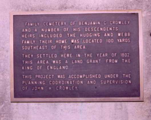 This plaque has since been pried from the mausoleum and stolen. I can't attest to it's truthfulness as the research I've done says nothing about a land grand from the king of England.