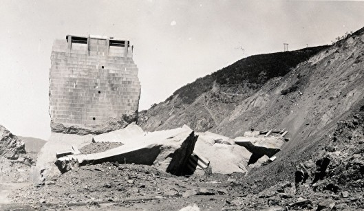 This fragment was all that remained after the St. Francis Dam broke a few minutes before midnight on March 12, 1928. Photo courtesy of Photos courtesy of Caroline and Glenn Marshall.