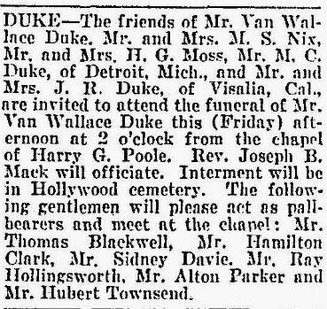 Van Wallace Duke's obituary