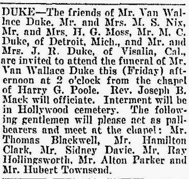 Van Wallace Duke's obituary