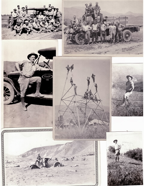 This collage of photos features Southern California Ed foreman John R. Duke during his days in the San Francisquito Mountains. The picture on the bottom left was taken after flood. Photo courtesy of the Duke family.