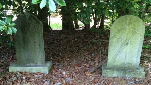 The graves of Obediah and Salina Coleman sit at the edge of the cemetery. The home they shared is now the site of Dunwoody Springs Elementary School.