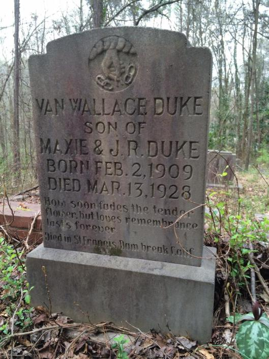 Sitting quietly forgotten among the vines and branches is the grave of Van Wallace Duke, an adventurous young man whose life was cut short by tragedy thousands of miles from home.