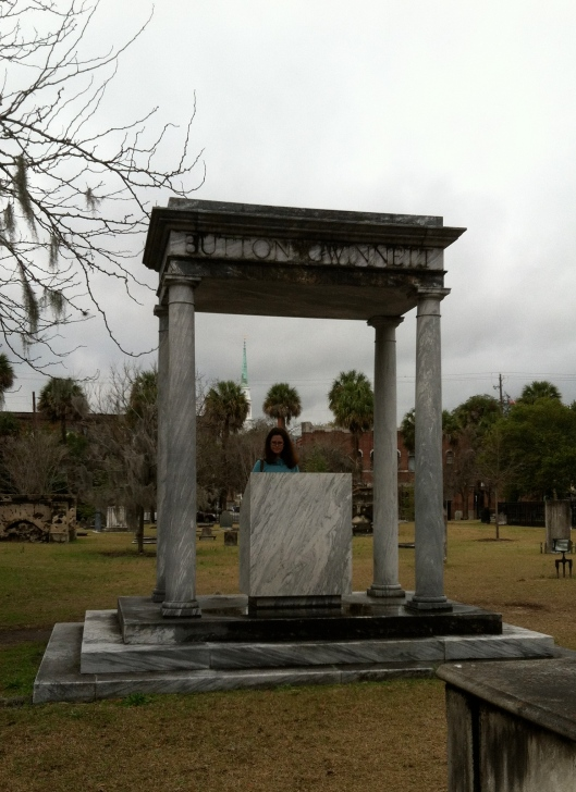 Since nobody is quite sure where Gwinnett is buried, this monument honors his contributions to Georgia history.