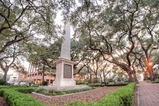Johnson Square is the final resting place of Nathanael Greene and his son. Photo courtesy of www.visithistoricsavannah.com.