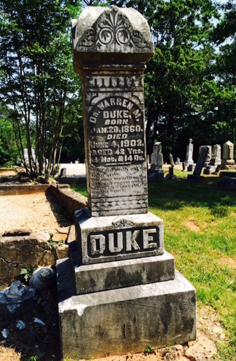 Dr. William M. Duke's family donated the land for New Hope Baptist Church's cemetery. He died at the age of 42 and was reportedly much loved by Dunwoody residents.