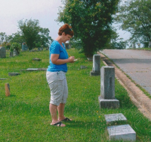 This is typical of what you'll find me doing out at Decatur Cemetery on any given Tuesday. I check what's on the grave markers with what's on the old index cards and in the computer records.