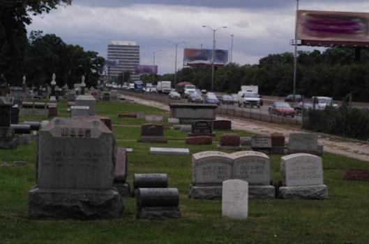Commuters on Chicago's I-290 can get a view of Forest Home Cemetery. Photo from the website diversostudio.wordpress.com.