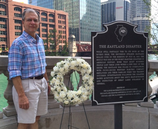 Minnie's grandson (and my father-in-law) Craig Rylands stands beside the memorial marker commemorating the 1915 Eastland disaster.