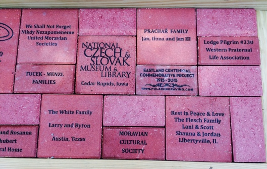 These are just a few of the memorial bricks placed at the foot of the Eastland Memorial at BNC.