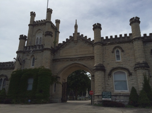 Rosehill's impressive limestone front gate was designed by famed architect William Boyington. The limestone came from the quarry at Joliet Prison.