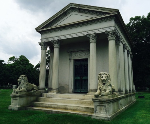 The Schaaf family mausoleum is a commanding presence. Adam, a piano dealer that eventually became a manufacturer, is buried inside along with his wife and at least one of his sons.