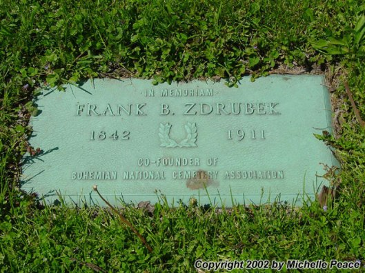 Frank Zrubek was one of the founders of Bohemian National Cemetery and is buried there. Photo by Michelle Peace.