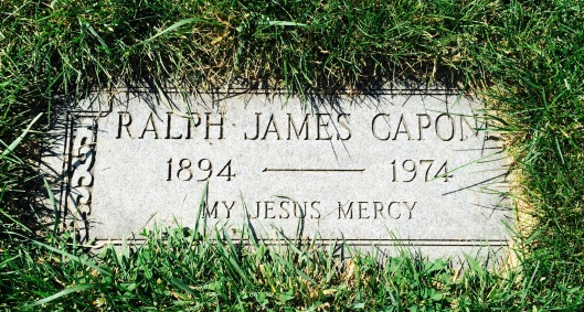"Buried near Al is his older brother, Ralph ""Bottles"" Capone. He got the nickname not from involvement in the Capone bootlegging empire, but from his running the legitimate non-alcoholic beverage and bottling operations in Chicago. While Ralph was also jailed for tax evasion at one point, he was considered a minor player in the underworld."