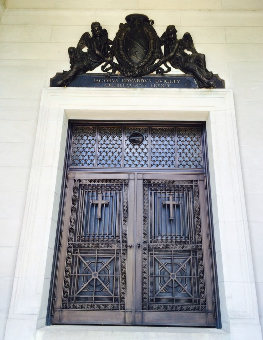 The front door of the Bishops' Mausoleum, completed in 1912.