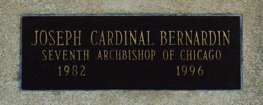 The plaque bearing Cardinal Joseph Bernardin's name outside the Bishops' Mausoleum.